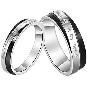 jewelrywe paire d 39 alliances anneaux de l 39 amiti bagues de fian ailles en acier inoxydable. Black Bedroom Furniture Sets. Home Design Ideas