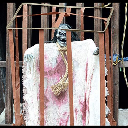Control De Voz Jaula Fantasma Blanco Accesorios De Halloween Jaula Jaula Colgando Fantasma Horror Entidad Asustadiza Casa Embrujada Escena Arreglo Accesorios