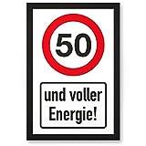 DankeDir! 50 Jahre Voller Energie, Kunststoff Schild - Geschenk 50. Geburtstag, Geschenkidee Geburtstagsgeschenk Fünzigsten, Geburtstagsdeko/Partydeko / Party Zubehör/Geburtstagskarte