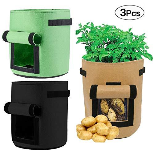 mengger sacco per piante sacchetto patate grow planter bags vasi giardino ventilazione naturale coltivazione verdure sane 3 pezzi 7 galloni sacchi piantatura pomodori coltivare non tessuto sacchetti