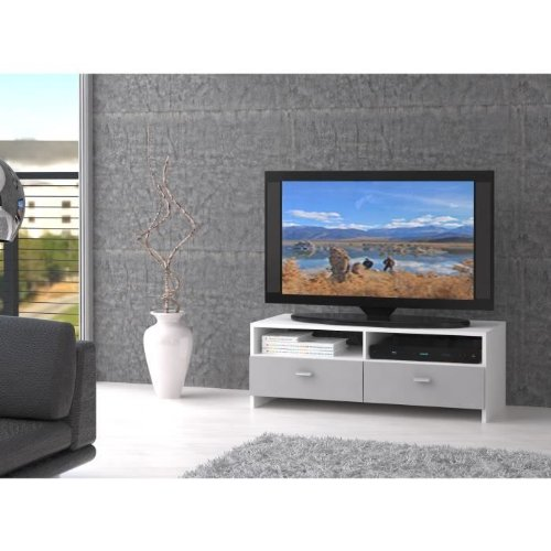 BINGO Meuble TV blanc et gris 95cm