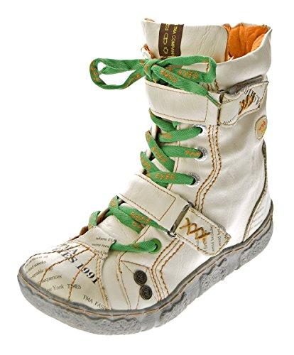 TMA Damen Leder Stiefeletten 7087-N Knöchel Schuhe gefüttert Winter Stiefel Weiß/N Used Look Gr. 37