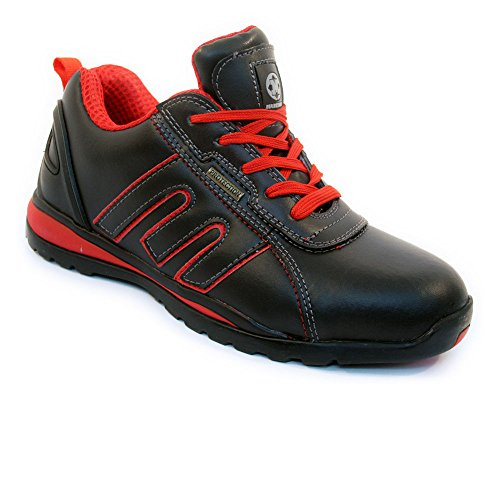 BARGAINS-GALORE Mens Safety Trainers Shoes Boots Work Steel Toe Cap Hiker Ankle Black Red Leather