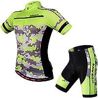 Eleoption Herren/Damen Kurzarm Anzug Jersey Shirt Radbekleidung Set Trikot für Reiten Radfahren Radsport MTB (Es ist asiatische Größe und normalerweise kleiner als die EU Größen. Vor dem Kauf sehen Sie bitte das Größentabelle in Abbildung am besten an!)