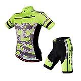 Eleoption Herren/Damen Kurzarm Anzug Jersey Shirt Radbekleidung Set Trikot für Reiten Radfahren Radsport MTB M