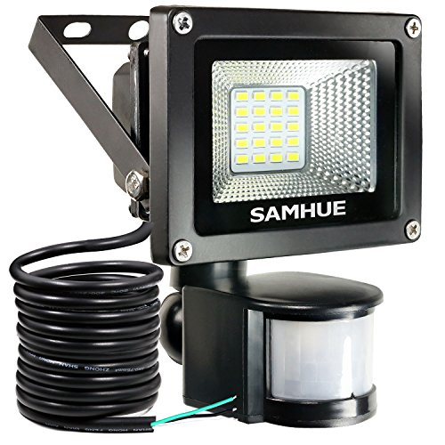 10W Security Light With Motion Sensor Lights Outdoor Flood Lights SAMHUE High Output 900lumen 60W Halogen Lights Equivalent Replacement Daylight White Waterproof Security Lights PIR Floodlight