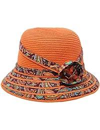 Oudan Sombrero de Paja Plegable de los Sombreros de la Playa de la Flor del  Sombrero del Sol de la Moda de señora… 9461edb11e0