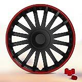 Radkappen Universell – 16 Zoll CRYSTAL (Schwarz-Rot). Radzierblenden passend für fast alle PKW inkl. 4 Ventilkappen Rot!