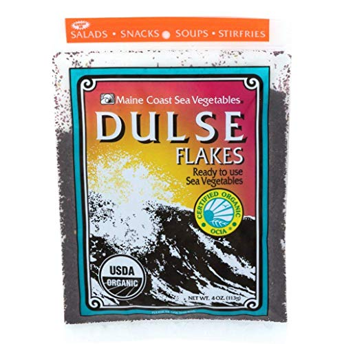 Dulse Flakes - Certified Organic- Sea Vegetables, washed, Pure Vegan- Maine COhsawast 4oz