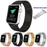 Apple Watch Band,Amytech® 42 mm Stainless Steel Replacement Smart Watch Band Link Bracelet with Double Button Folding Clasp for 42 mm Apple Watch All Models ( Negro 42 MM )