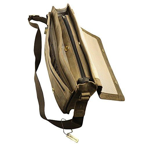 Handgearbeitete hochwertige, handschmeichelnde Marc Picard Leder Tasche Umhängetasche Schultertasche Messenger Bag 28x30x9 (BxHxT) Tobacco