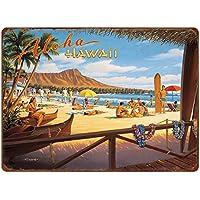 Blechschild XXL Weltenbummler  Hawaii Gitarre
