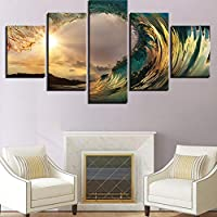 ASDZXC Canvas Paintings Wall Art Hd Print Beach Posters 5 Pieces Sunset Sea Waves Seascape Pictures Living Room Home Decor