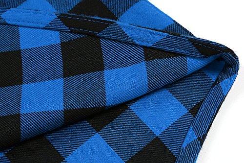 OURS Herren Karohemd Regular Fit Freizeit Bayerisches Hemd Für Oktoberfest Langarm Kariert Hemden Blau