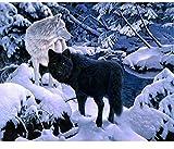 ZSCY Diamante Pintura Decoración Diamantes con Piedras Falsas Palos De Mosaico Diamante Bordar Taladro White Wolf Snow Decoración para El Hogar 40X55 Cm Sin Marco