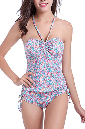 Vestido-Floral-Tankini-traje-de-bao-conjunto-Yacun-mujer-Pink-M