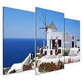 Kunstdruck - Griechische Mühle - Bild auf Leinwand - 100x60 cm 3 teilig - Leinwandbilder - Bilder als Leinwanddruck - Urlaub, Sonne & Meer - Mittelmeer - Griechenland - Mühle in Santorini