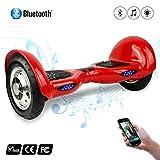 Cool&Fun Hoverboard/Skateboard/Gyropode Éléctrique Auto-équilibrage Bluetooth Scooter Trottinette Électrique 10 Pouces,Pneu Gonflable (Red)