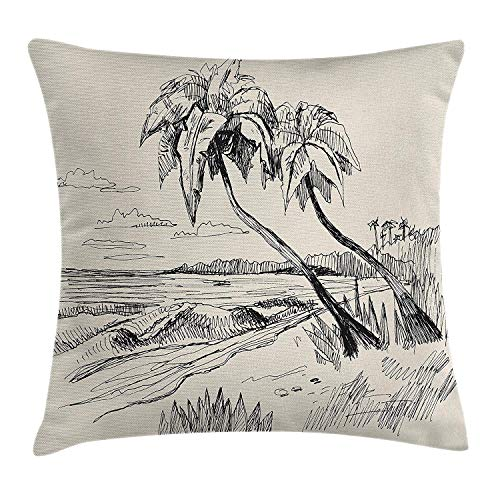 ow Cushion Cover, Original Sketch of Coconut Palm Tree Sandy Tropical Beach Exotic Oceanside View, Decorative Square Accent Pillow Case, Cream Black, 18 X 18 Inches ()