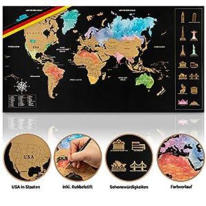 Inventy® Weltkarte zum Rubbeln in Wasserfarben Design – Rubbel Weltkarte in Deutsch (43,5 x 80 cm) inkl. Geschenkverpackung – Landkarte zum Rubbeln in Gold/Schwarz