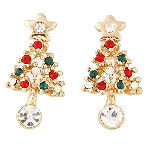 Westeng Weihnachtskristall Rhinestone Baum Drop Dangly Ohrringe für Frauen Mädchen Schmuck Zubehör Geschenk - 1 Paar (Ohrring Bäume Frauen Für)