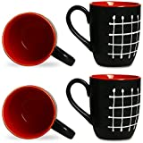 Coffee Mug Ceramic/Stoneware In Black & Red Check (Set Of 4) Handmade By Caffeine
