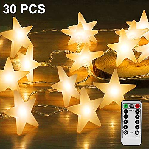 Led Lichterkette Sterne, Nasharia Lichterketten-8 Modi 30er Sterne 5M Länge LED Lichterkette mit USB Port Ladung und Batteriebetrieben Warmweiß Lichterketten für Zimmer, Tisch, Innenbeleuchtung, Wand, Party, Weihnachten und Haus Deko
