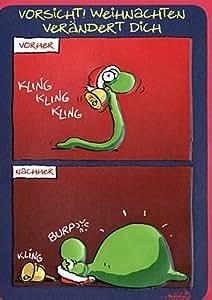 Witzige Weihnachtskarte Weihnachtsfressen: Amazon.de