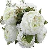 Houda künstlicher Pfingstrosen-Strauß, Kunstblumen aus Seide, Bouquet für Zuhause oder als Hochzeitsdekoration weiß