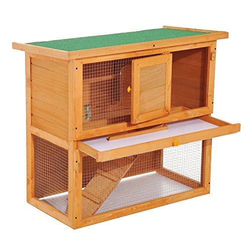 Pawhut gabbia per conigli conigliera da esterno in legno di abete, 90 x 45 x 80 cm, colore naturale