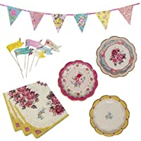 Talking Tables Truly Scrumptious - Set per feste con piatti, tovaglioli di carta, bandierine e festone da appendere
