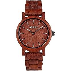 ZARTHOLZ Herren Damen Holz-Armbanduhr Holzuhr Klassik 40mm aus rotem Sandelholz Holzarmband Rot Silber ZH008
