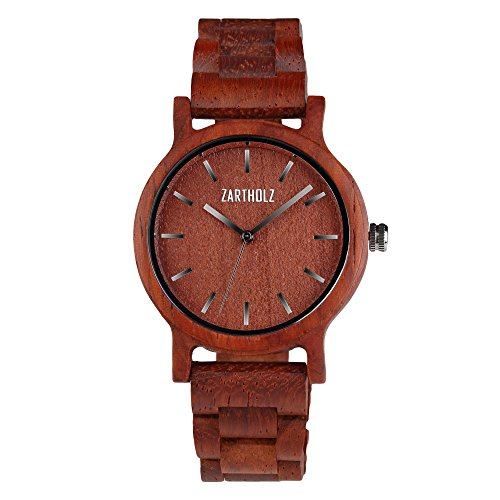 ZARTHOLZ Herren Damen Unisex Holzuhr Holz-Armbanduhr Klassik (Sandelholz Rot)