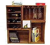 Mini arredo wine bar modulare composto da 4 cassette della frutta vintage. Portabottiglie, portabicchieri, libreria.