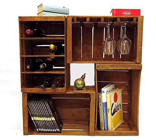 Fruit Boxen, Flaschenregale, Bücherregal, Weinbar Möbel aus 4 Vintage-Boxen 51x31x28 cm -
