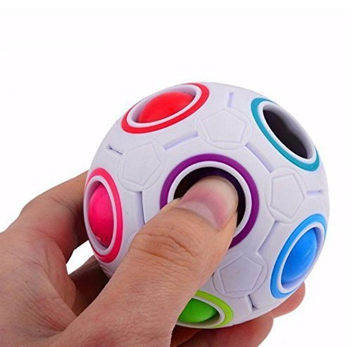 URGrace 3D Intelligenz Spiele Sphärische Magic Cube Spielzeug Jungen Mädchen Neuheit Rainbow Fußball Puzzle Cubes lernen Bildungs-Spielzeug Geschenk für Kinder Kinder Erwachsene (Fußball-neuheit)