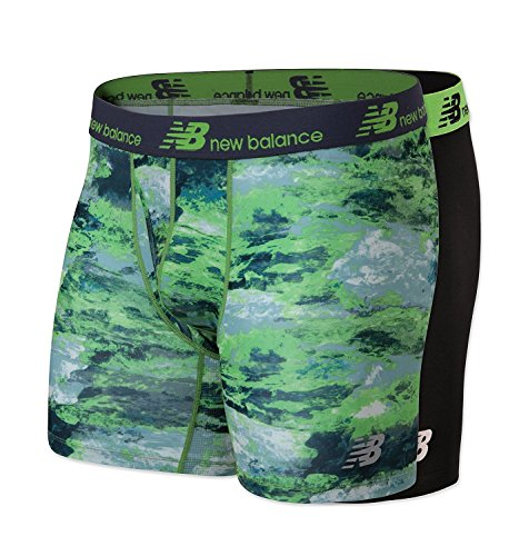 Briefs Boxer Lightweight (New Balance Mens Dry Fresh Boxer Brief 2-Pack, Black/Energy Lime Print, Medium (32-34