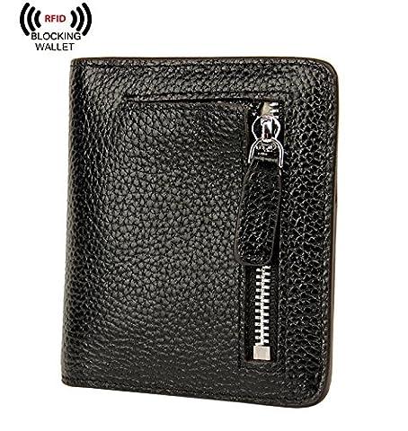 AINIMOER RFID Blocking Women's Leather Clutch Wallet Card Case Purse with Zipper Pocket(Black)