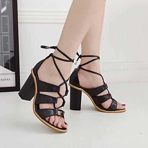 LvYuan-mxx Sandales femme / Printemps été / Rome chaussures / Cross sangles creux / talon chunky / ouvert orteil / Confort Casual / Bureau & Carrière Robe / Talons hauts BLACK-38