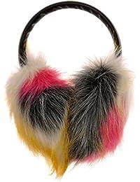 ZLYC caches-oreilles pour femmes en fourrure synthétique et couleurs néon avec bandeau ajustable en cuir PU, earmuffs, earwarmer