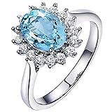 Abellale Bague Mariage Femme Rond Bague Topaze Bleu Femme Bleu Bague Femme Mariage 7...