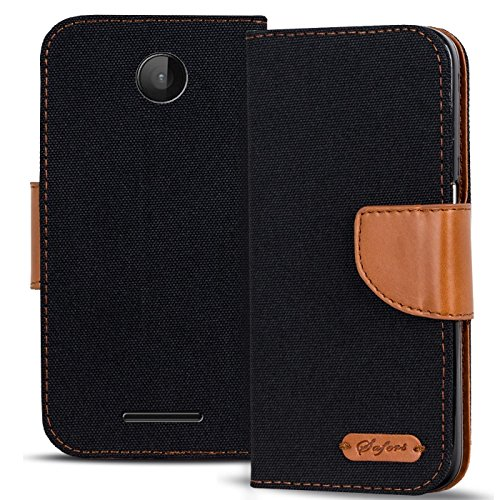 CoolGadget Lumia 532 Hülle, Textil Handyhülle Microsoft Lumia 532 Tasche PU Leder Flip Case Brieftasche Handy Schutzhülle für Microsoft Lumia 532 Cover - Schwarz