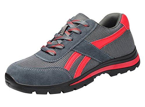 Antinfortunistiche Scarpe Uomo da Lavoro Acciaio Sportive Scarpa Sneaker Ginnastica Trekking Estive Grigio 37 EU