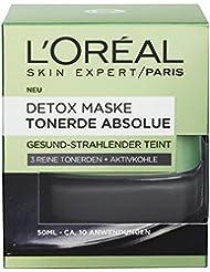 L'Oreal Paris Tonerde Absolue Schwarze Detox Maske mit Aktivkohle, entfernt Unreinheiten und Mitesser, 50 ml