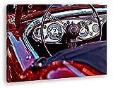Roter Cabrio Oldtimer Format: 120x80 Effekt: Zeichnung als Leinwandbild, Motiv fertig gerahmt auf Echtholzrahmen, Hochwertiger Digitaldruck mit Rahmen, Kein Poster oder Plakat