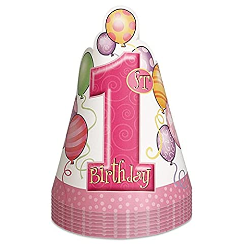 Pink Balloons 1st Birthday Party Hats, Pack of