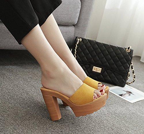 GTVERNH-yellow sands solo scarpe di pelle tacchi alti bene le pantofole femmina spesso i tacchi spesso fondo impermeabilizzare scarpe da donna e lestate sandali.,36 Thirty-four
