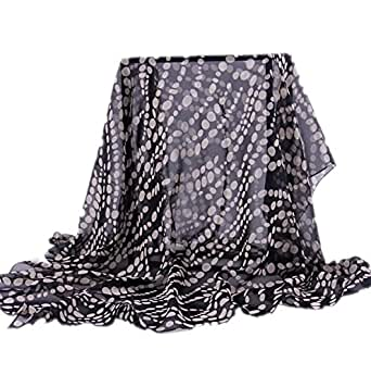 Prettystern - 110CM X 95CM très chic foulard en soie à pois (Polka Dots) noir/blanc