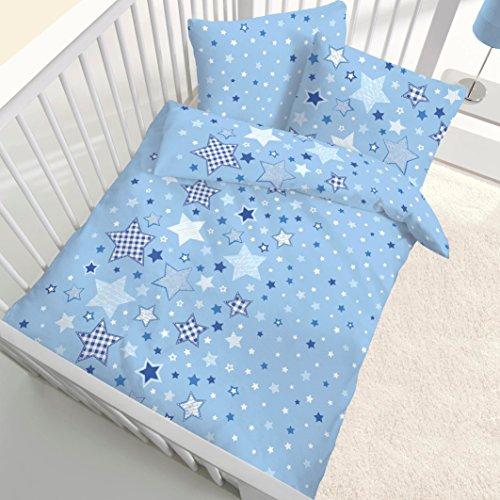 STERNE Fein Biber Baby & Kinder Jungen Bettwäsche ☆ STARS Sterne & Sternchen blau, himmelblau - 2 teilig Kissenbezug 40x60 + Bettbezug 100x135 cm - 100 {7e1757fb925227483f9d7799e9b4db0c89d96831e37a12fd50b67627009c8ef5} Baumwolle - hergestellt in Deutschland - Geschenke Idee