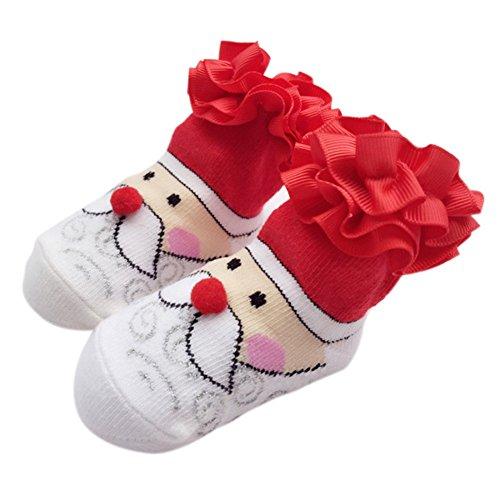 PanDaDa Baby Kinder Kleinkind Mädchen Weihnachtsbaum Santa Druck Baumwolle Rüsche Crew Socken (Santa Claus Anzüge Für Verkauf)